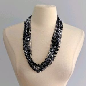 Waterfall Black Silver White Ladder Necklace NEW